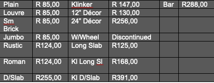 Slabs Sizes and Pricing